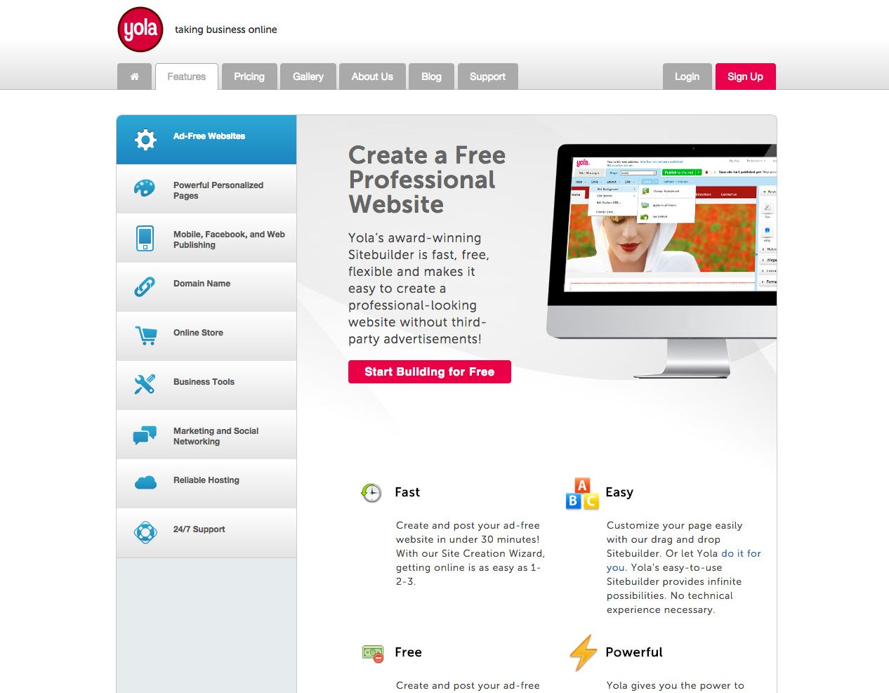 easy tools to build a website yola