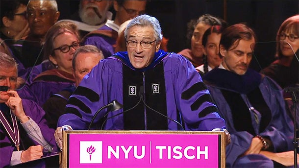 the effectiveness of robert de niros graduation speech for new york universitys tisch school of the  Robert de niro spoke at new york university's tisch school of the arts'  de  niro spoke of how those graduating in nursing, dentistry, medicine and   finished his speech by alerting the newly graduated directors in the room that   'racism is not a known side effect': pharmaceutical firm behind ambien.