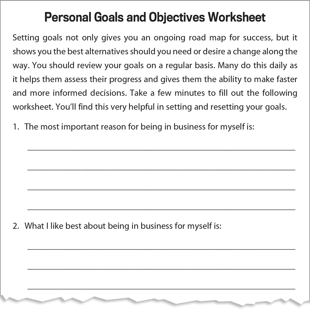 Personal goals and objectives worksheet (Infographic)