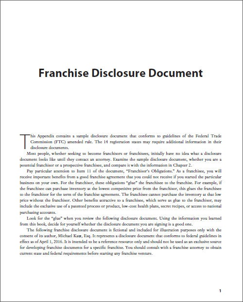 Sample Franchise Disclosure Document