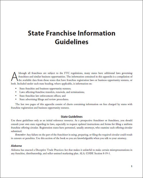 State Franchise Information Guidelines