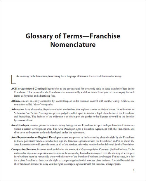 Glossary of Terms -- Franchise Nomenclature