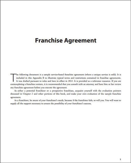 Sample Franchise Agreement
