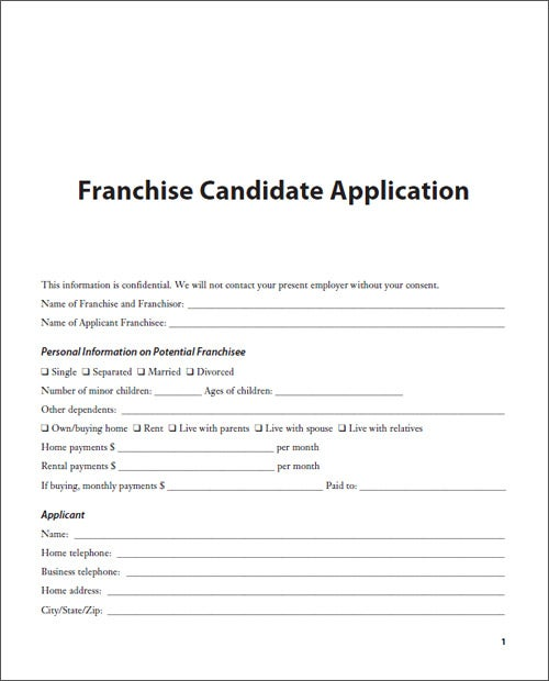 Sample Franchise Candidate Application