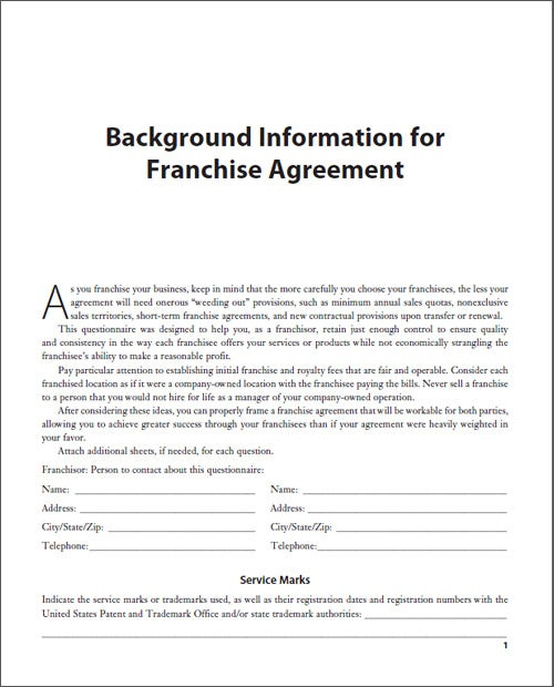 Background Information for Franchise Agreement