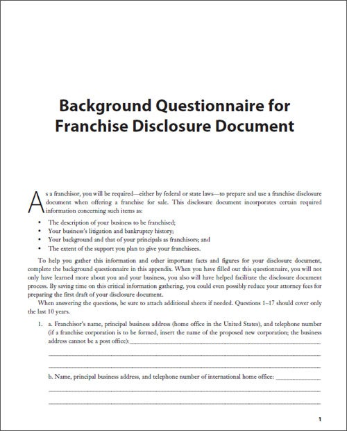 Background Questionnaire for Franchise Disclosure Document
