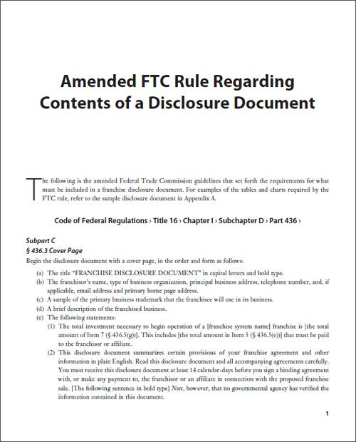 Amended FTC Rule Regarding Contents of a Disclosure Document