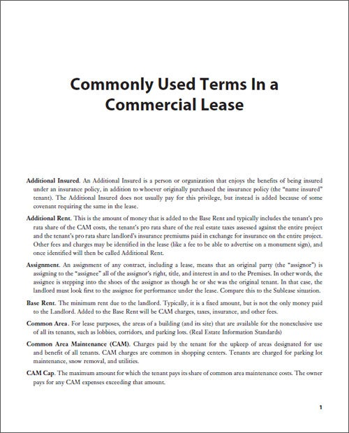 Commonly Used Terms In a Commercial Lease