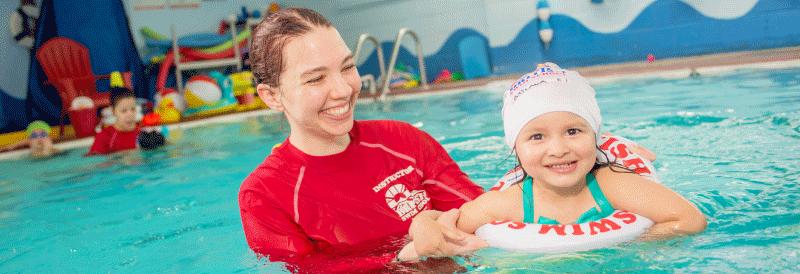 Women teaching a child to swim