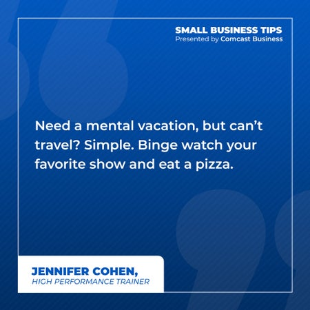 Need a mental vacation, but can't travel? Simple. Binge watch your favorite show and eat a pizza.