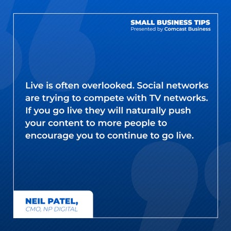 Live is often overlooked. Social networks are trying to compete with TV networks. If you go live they will naturally push your content to more people to encourage you to continue to go live.